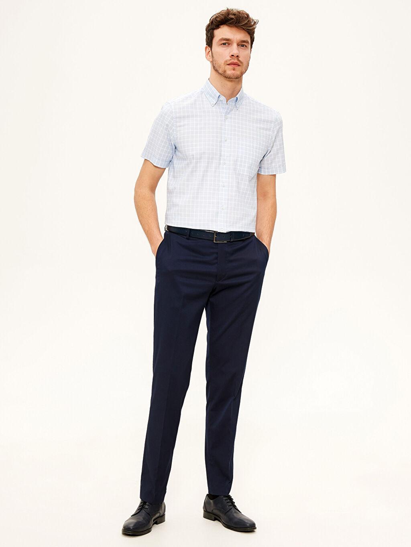 %72 Pamuk %28 Polyester Regular Fit Kısa Kollu Ekose Gömlek