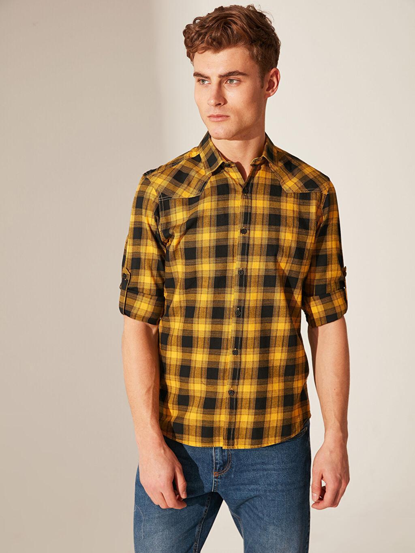 Sarı Ekstra Slim Fit Ekose Gömlek 0S8489Z8 LC Waikiki