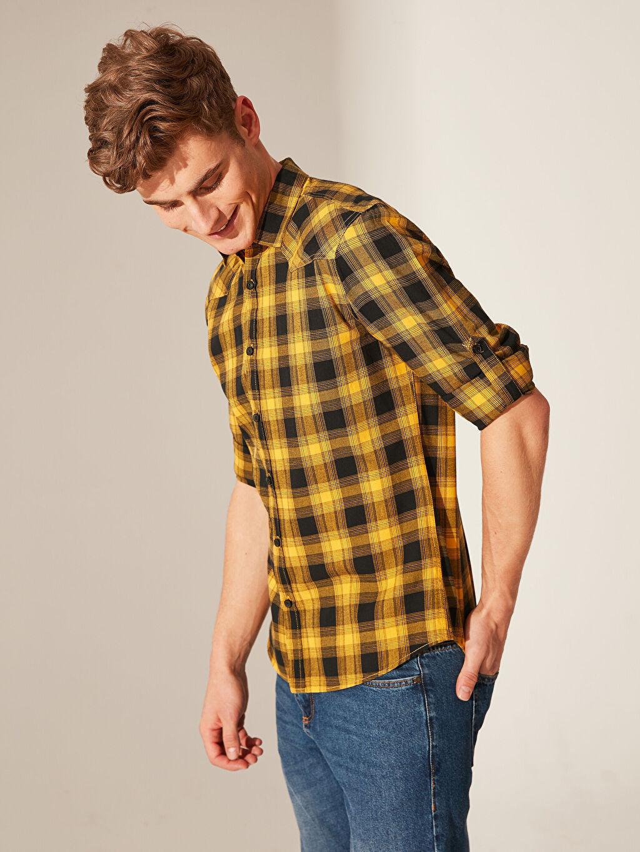 %100 Pamuk Uzun Kol Ekoseli En Dar Gömlek Düğmesiz Ekstra Slim Fit Ekose Gömlek