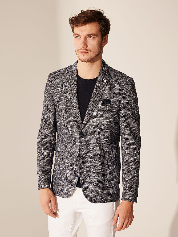 Erkek Dar Kalıp Kırçıllı Blazer Ceket