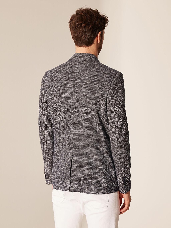 %53 Polyester %47 Viskoz Dar Kalıp Kırçıllı Blazer Ceket