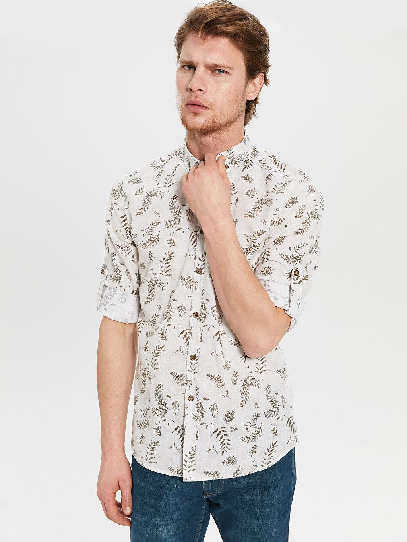 %100 Pamuk Uzun Kol Ekstra Dar Düğmeli Gömlek Yaka Poplin Gömlek Gömlek Baskılı Aile Koleksiyonu Ekstra Slim Fit Gömlek