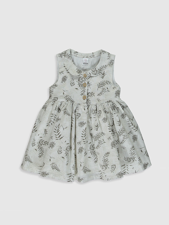 Gri Aile koleksiyonu Kız Bebek Desenli Poplin Elbise 0S8729Z1 LC Waikiki