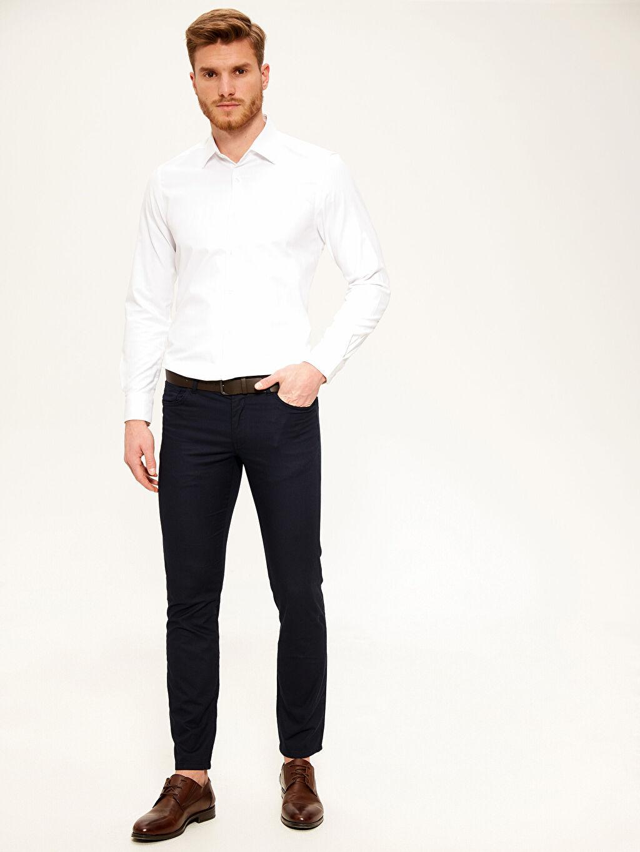 Lacivert Slim Fit Armürlü Pantolon 0S8789Z8 LC Waikiki