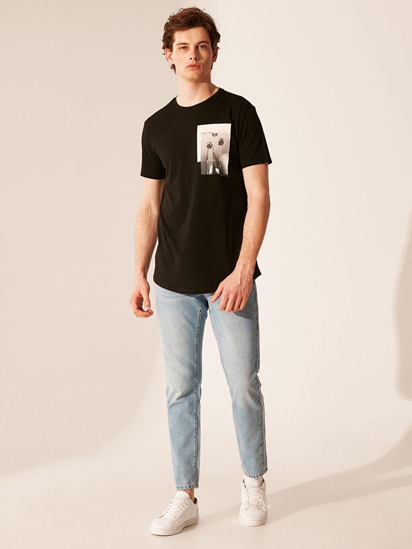 %100 Pamuk Overlong Baskılı Penye Tişört