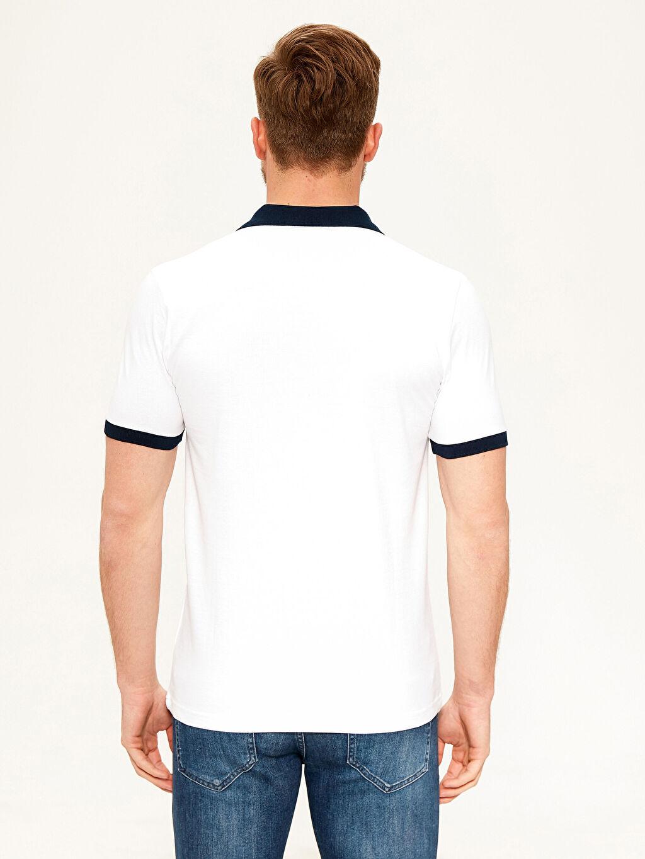 %100 Pamuk Tişört Pike Polo Yaka Kısa Kol Düz Standart Polo Yaka Şeritli Basic Tişört