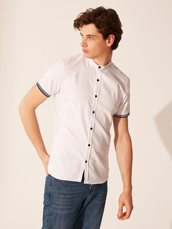 %52 Pamuk %41 Poliester %7 Elastan Kısa Kol Düz Ekstra Dar Düğmeli Gömlek Yaka Gömlek Gömlek Ekstra Slim Fit Armürlü Gömlek