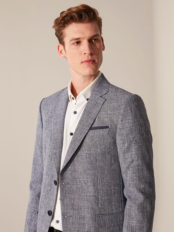 %100 Polyester %100 Polyester  Dar Kalıp Dokulu Blazer Ceket