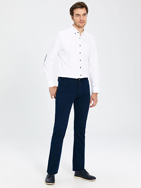 %98 Pamuk %2 Elastan Pantolon Düz Aksesuarsız Standart Normal Bel Uzun Beş Cep Regular Fit Gabardin Pantolon