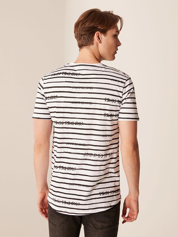 Erkek Overlong Çizgili Penye Tişört
