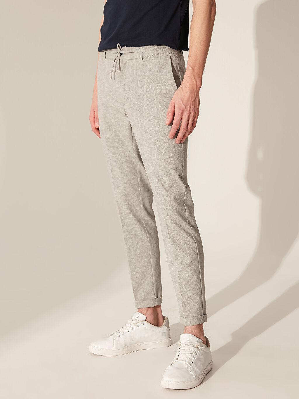 Erkek Slim Fit Poliviskon Crop Pantolon