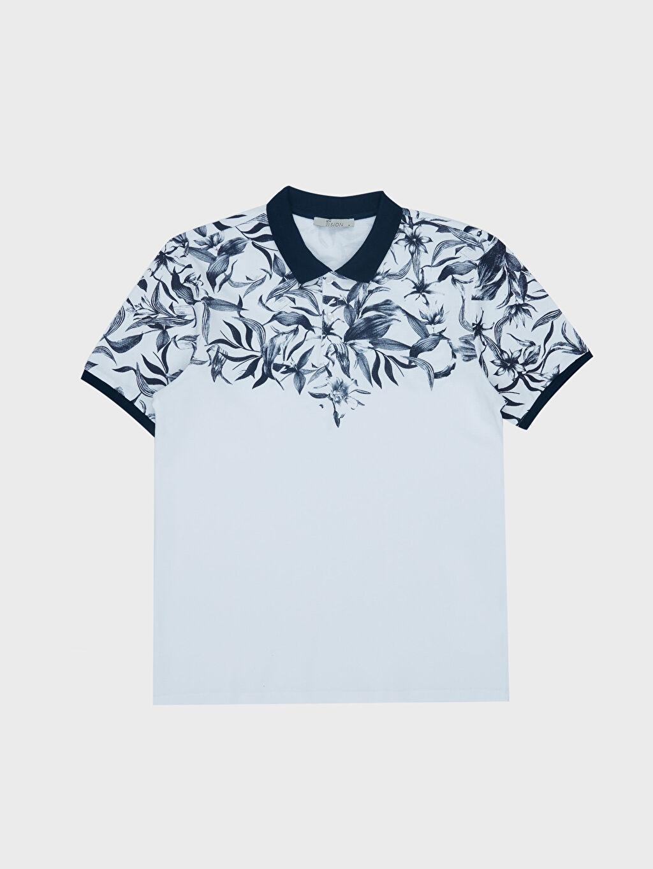 LC Waikiki Beyaz Polo Yaka Desenli Tişört
