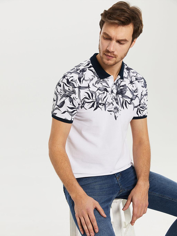 %100 Pamuk Baskılı Kısa Kol Tişört Polo Dar Polo Yaka Desenli Tişört