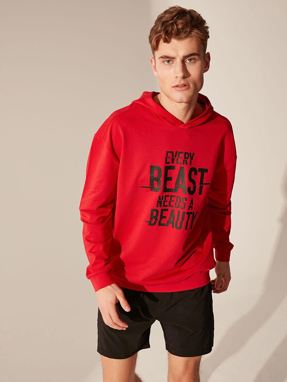 %74 Pamuk %26 Polyester Uzun Kol Standart Standart Tişört Kapüşon Yaka Orta Kalınlık Kapüşonlu Baskılı Aktif Spor Sweatshirt
