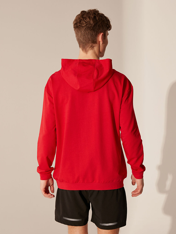 %74 Pamuk %26 Polyester Kapüşonlu Baskılı Aktif Spor Sweatshirt