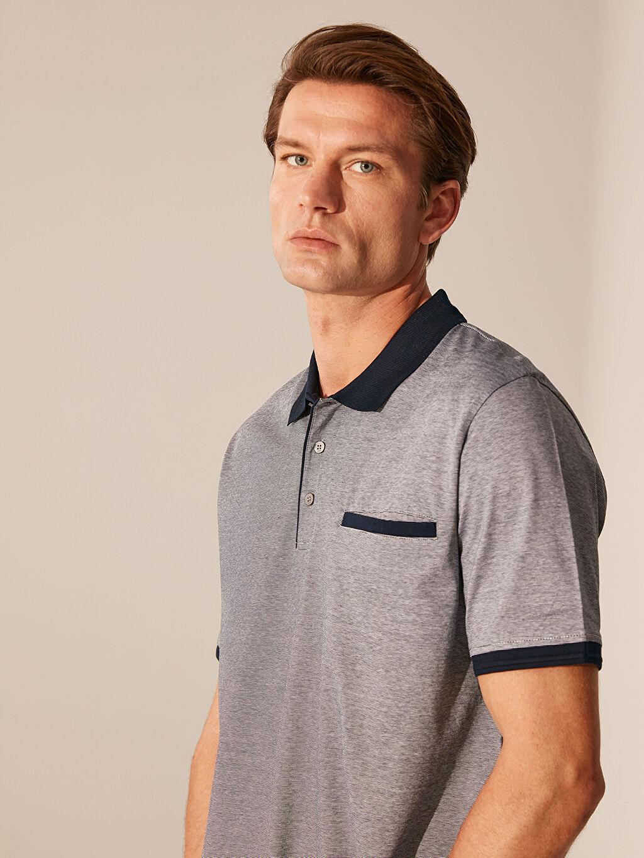 %100 Pamuk Çizgili Bol Kısa Kol Tişört Polo Polo Yaka Şeritli Tişört