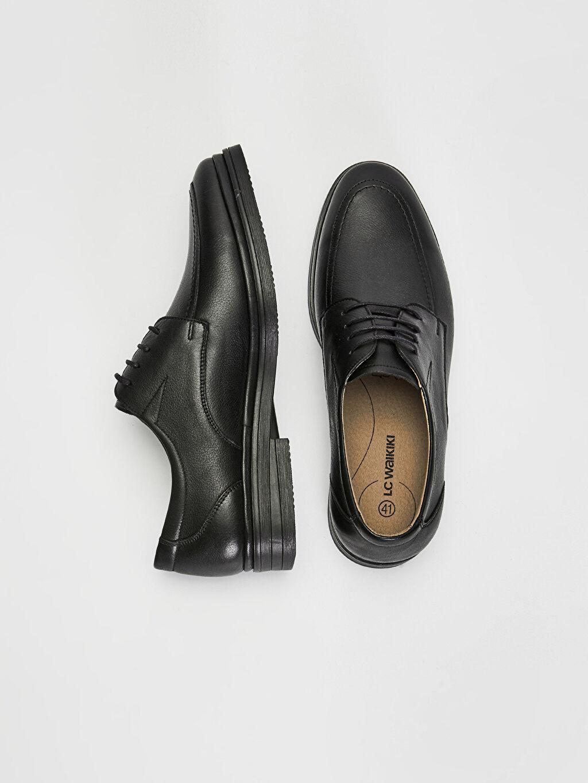 Deri Koku Yapmayan İç Taban Konforlu Düz Deri Standart Bağcık Günlük Klasik Ayakkabı Penye Astar Erkek Hakiki Deri Derby Ayakkabı