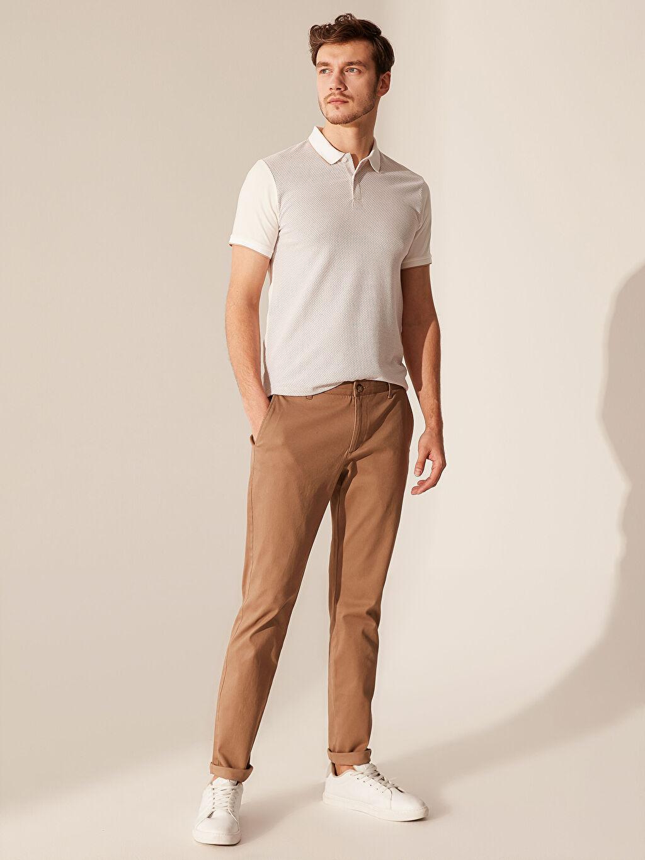 %98 Pamuk %2 Elastan Kalın Aksesuarsız Normal Bel Dar Pantolon Düz Slim Fit Dokulu Pantolon