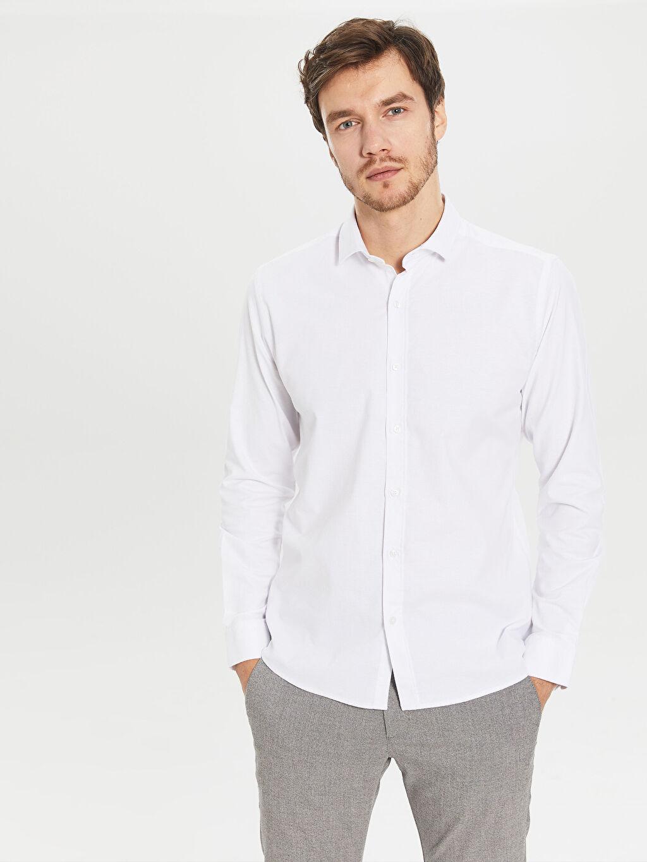 Beyaz Slim Fit Oxford Gömlek 0SA890Z8 LC Waikiki