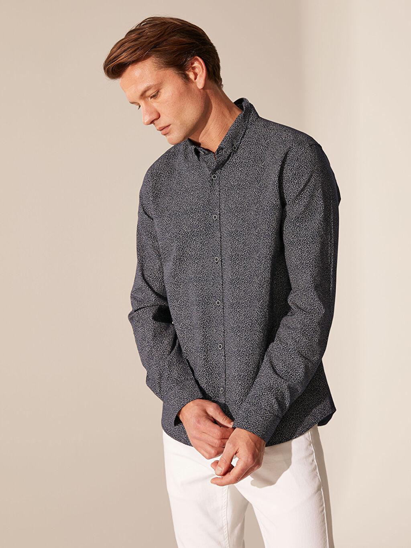 Lacivert Slim Fit Desenli Oxford Gömlek 0SB724Z8 LC Waikiki