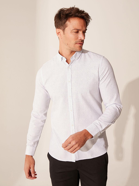 Beyaz Slim Fit Desenli Oxford Gömlek 0SB724Z8 LC Waikiki