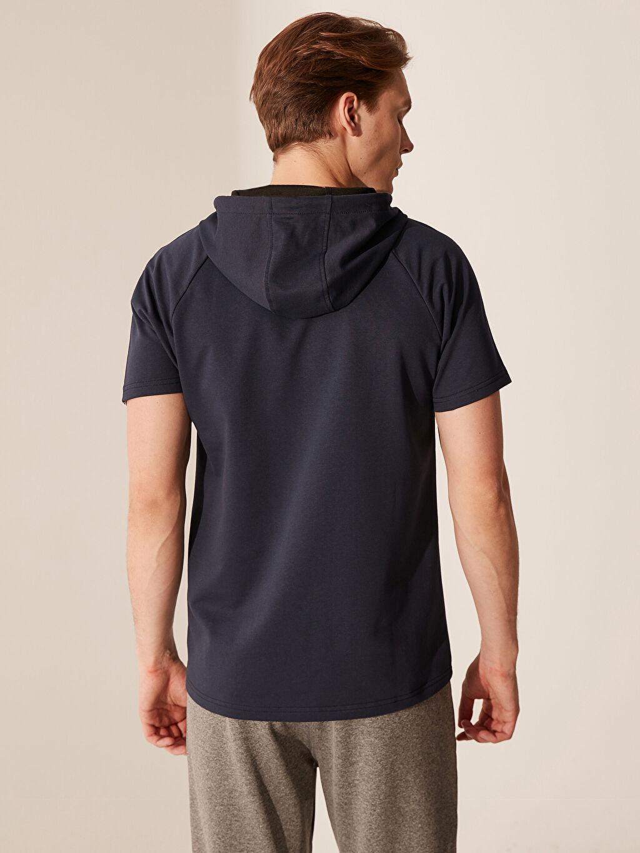 %71 Pamuk %29 Polyester Kapüşonlu Kısa Kollu Aktif Spor Sweatshirt