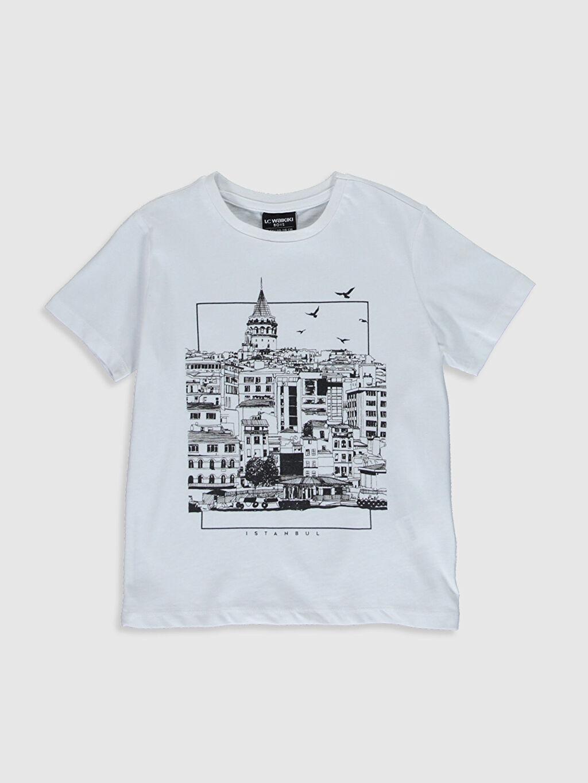 Beyaz Erkek Çocuk İstanbul Temalı Pamuklu Tişört 0SC098Z4 LC Waikiki