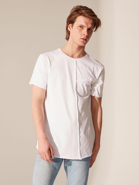 Beyaz Overlong Basic Tişört 0SC587Z8 LC Waikiki