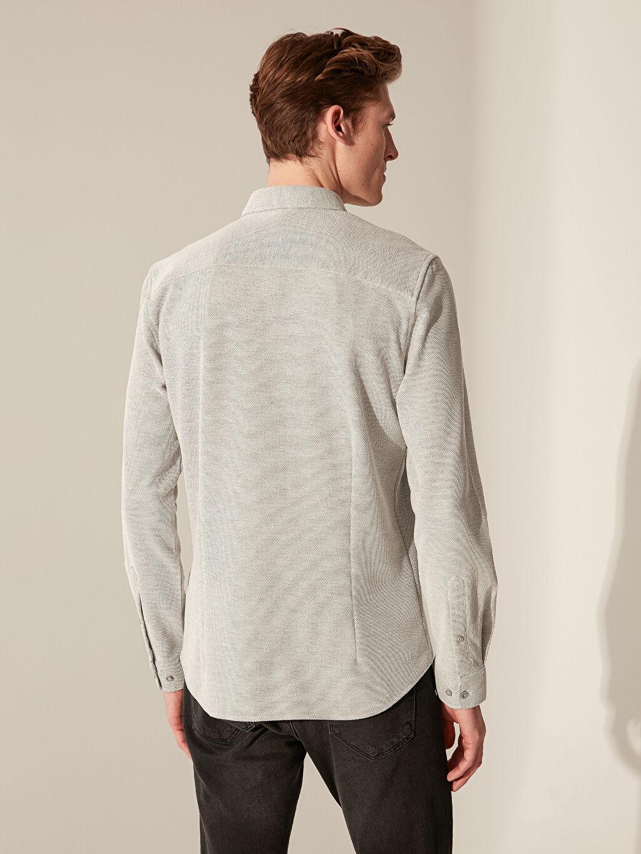 %15 Pamuk %85 Polyester Dar Düz Uzun Kol Gömlek Düğmeli Slim Fit Basic Gömlek
