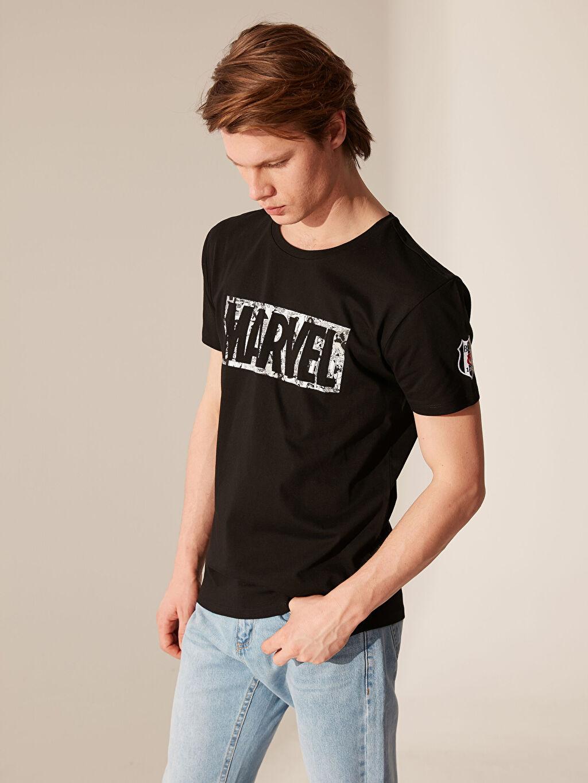 %100 Pamuk Standart Kısa Kol Tişört Bisiklet Yaka Baskılı Marvel Baskılı Beşiktaş Amblemli Tişört