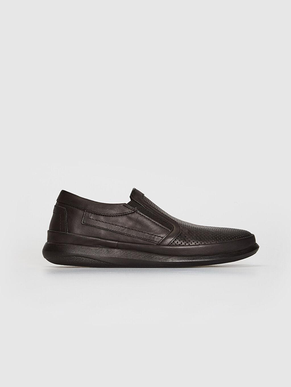 Siyah Erkek Hakiki Deri Klasik Konfor Ayakkabı 0SD056Z8 LC Waikiki