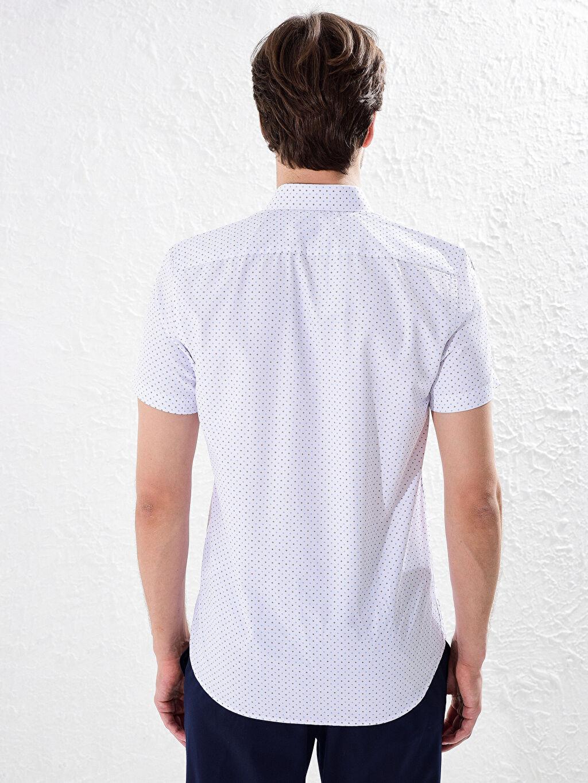 Erkek Slim Fit Kısa Kollu Puantiyeli Gömlek