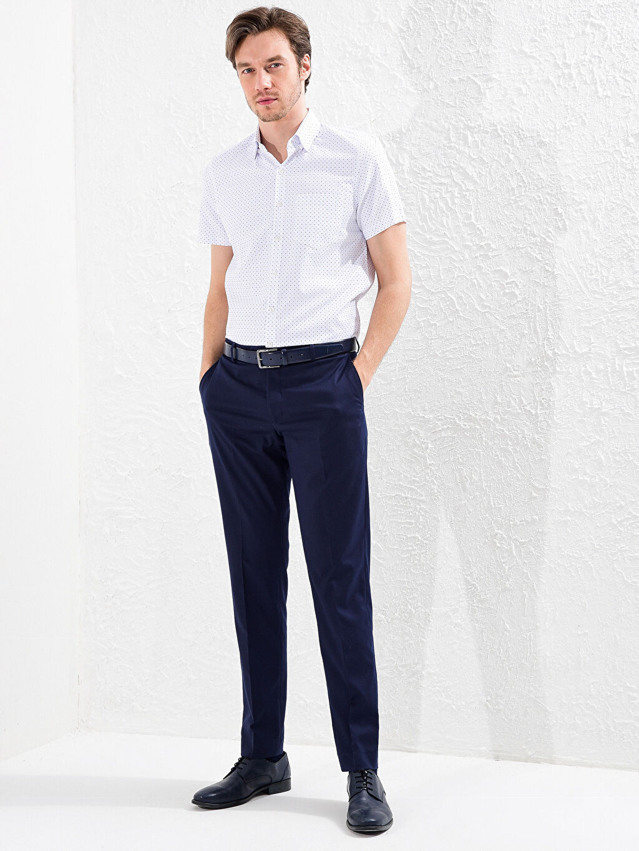 %58 Pamuk %42 Polyester Slim Fit Kısa Kollu Puantiyeli Gömlek