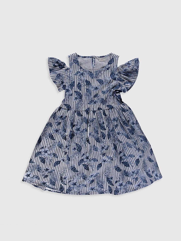 Lacivert Kız Çocuk Omuzu Açık Pamuklu Elbise 0SD487Z4 LC Waikiki