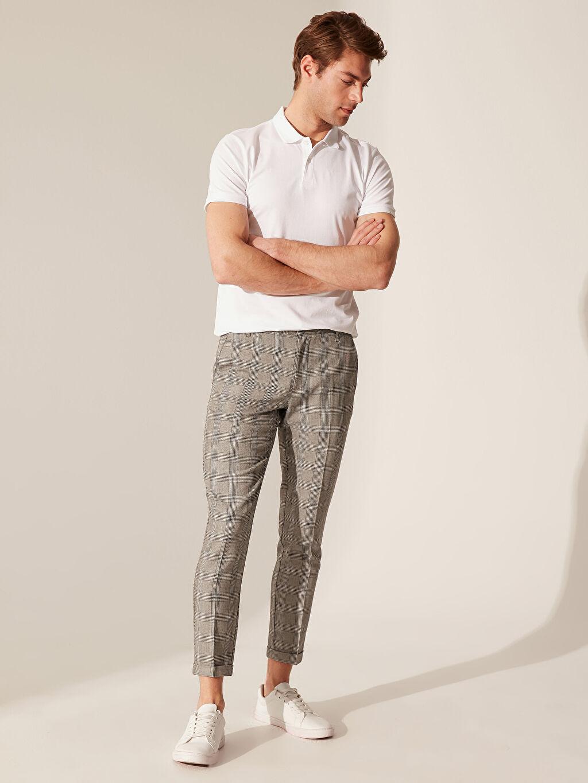 %67 Polyester %33 Viskon Dar Normal Bel Pilesiz Pantolon Slim Fit Ekose Poliviskon Pantolon