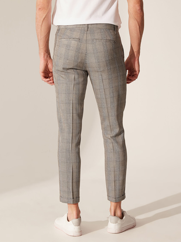 %67 Polyester %33 Viskon Slim Fit Ekose Poliviskon Pantolon