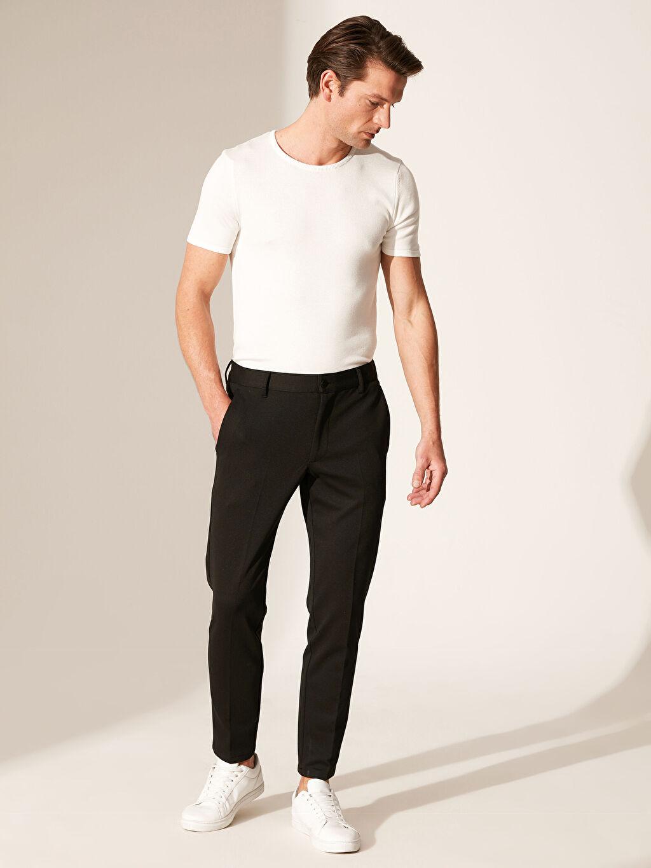 Siyah Slim Fit Poliviskon Pantolon 0SE659Z8 LC Waikiki