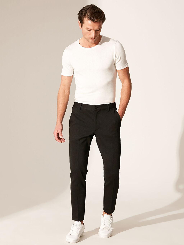 %81 Polyester %4 Elastan %15 Viskoz Dar Normal Bel Pileli Pantolon Slim Fit Poliviskon Pantolon