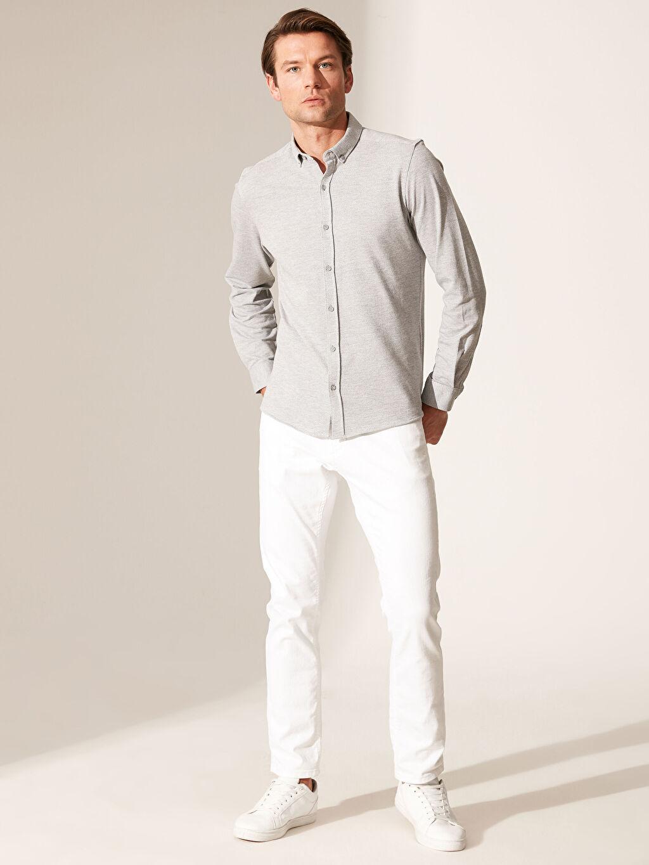 %75 Pamuk %25 Polyester Slim Fit Dokulu Gömlek