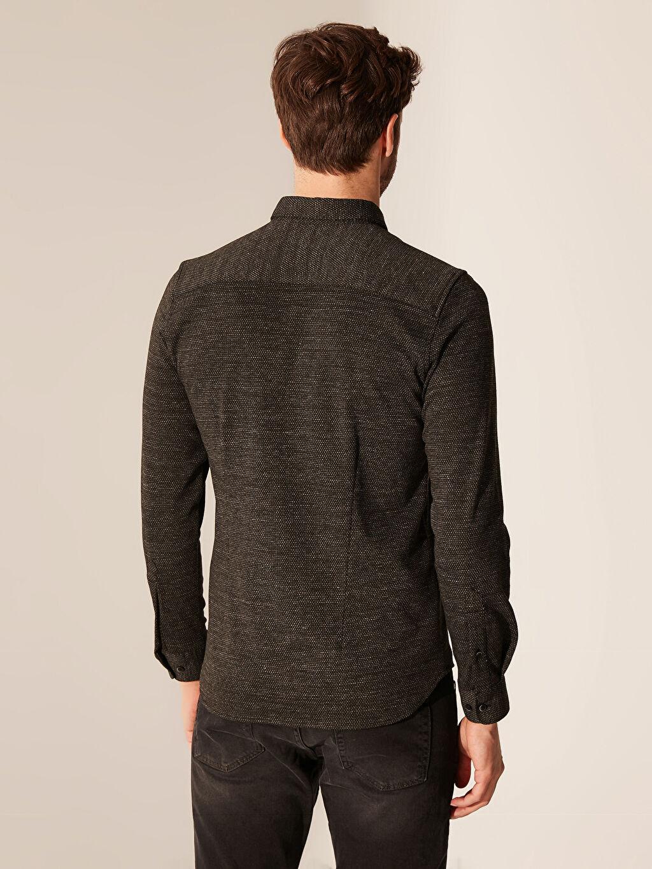 %71 Polyester %25 Viskoz %4 Elastan Slim Fit Dokulu Gömlek