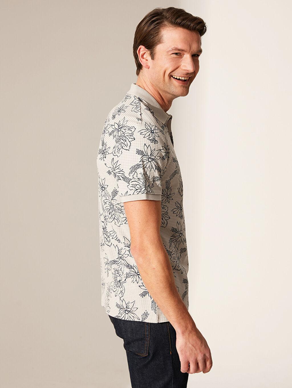 %92 Pamuk %8 Polyester Dar Baskılı Kısa Kol Tişört Polo Polo Yaka Desenli Tişört