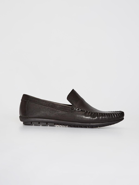 Siyah Erkek Hakiki Deri Loafer Ayakkabı 0SR046Z8 LC Waikiki