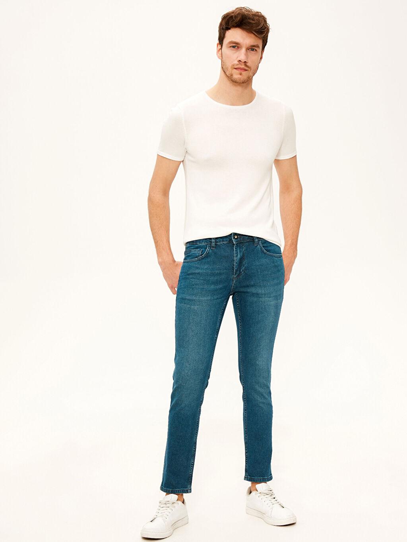 %99 Pamuk %1 Elastan Kalın Normal Bel Dar Beş Cep Jean 750 Slim Fit Jean Pantolon