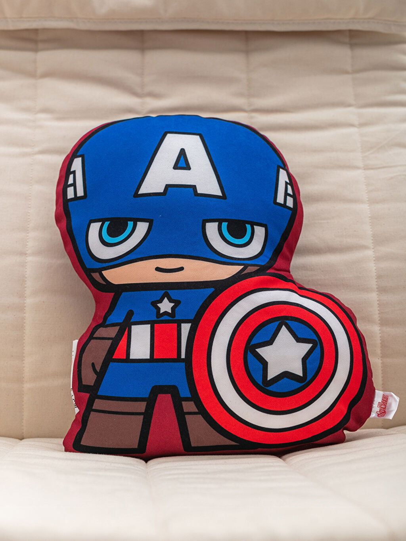 %100 Polyester Bebek Kırlent Baskılı Kaptan Amerika Lisanslı Dolgulu Kırlent
