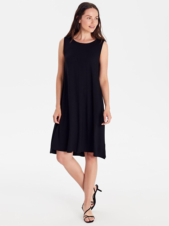 %97 Viskon %3 Elastan Elbise Kısa Kolsuz Ofis/Klasik Standart Süprem Astarsız Düz A Kesim İnce Salaş Düz Viskon Elbise