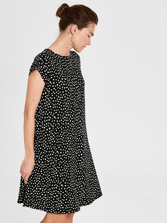 Siyah Desenli Viskon Elbise 0S1327Z8 LC Waikiki