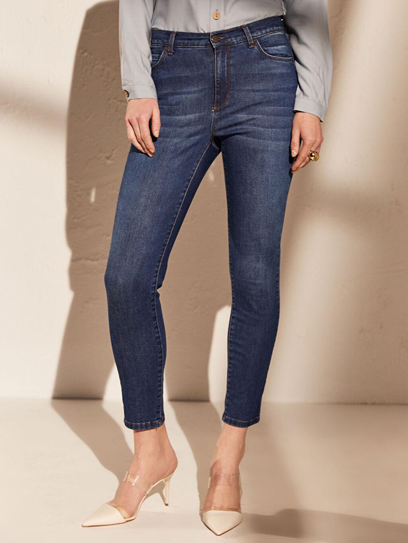 Kadın Yüksek Bel Esnek Dar Jean