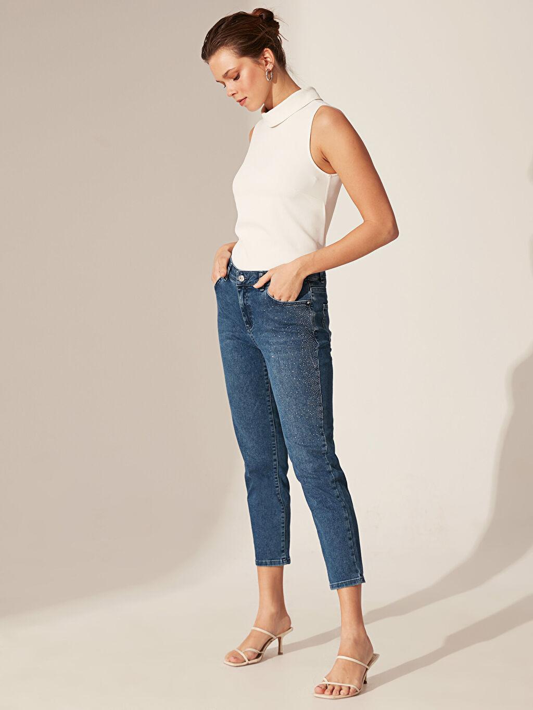 %83 Pamuk %15 Polyester %2 Elastan Normal Bel Bol Jean Işıltılı Aplike Baskılı Bilek Boy Havuç Jean Pantolon