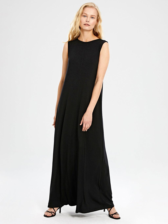 %96 Viskon %4 Elastan Standart Astarsız Uzun Düz Elbise Kolsuz Ofis/Klasik A Kesim Süprem Düz Uzun Viskon Elbise