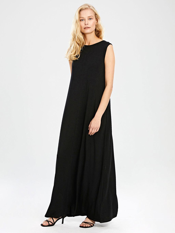 %96 Viskon %4 Elastan Düz Uzun Viskon Elbise